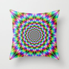 Psychedelic Web Explosion Throw Pillow