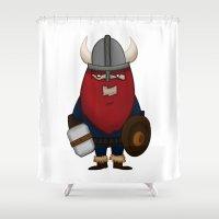 karl Shower Curtains featuring Viking Karl by ericbennettart