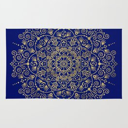 Moroccan Mandala – Gold Ink on Navy Rug