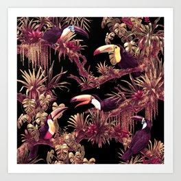 Toucans and Bromeliads - Dark Floral version Art Print