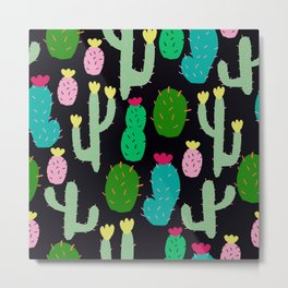 cute colored cacti abstract Metal Print
