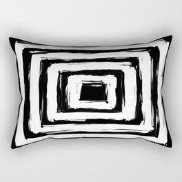Minimal Black and White Square Rectangle Pattern Rectangular Pillow