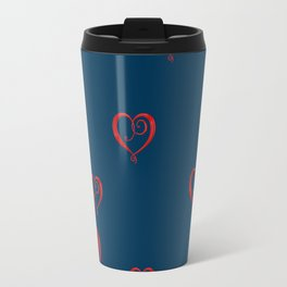 Polka Heart Party, Blue Travel Mug