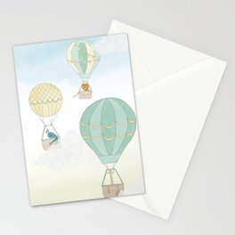 Up & Away, a Hot Air Balloon Adventure on a Blustery Day Stationery Cards