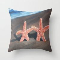 starfish Throw Pillows featuring Starfish by Lark Nouveau Studio