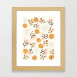 Modern Vintage Orange Blossoms Framed Art Print