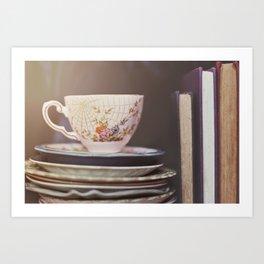 Vintage teacup and old books Art Print