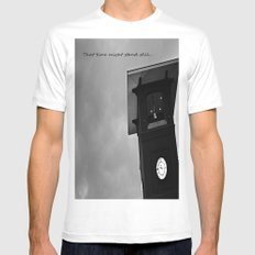 B&W Clock Tower White MEDIUM Mens Fitted Tee
