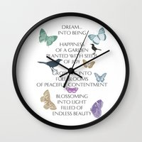 poem Wall Clocks featuring Dream Poem by Zen and Chic