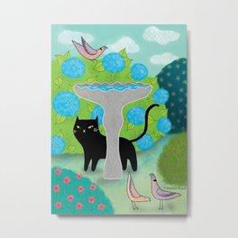 Cat & Pigeons Metal Print