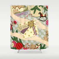gift card Shower Curtains featuring Merry Christmas gift by Yuliya