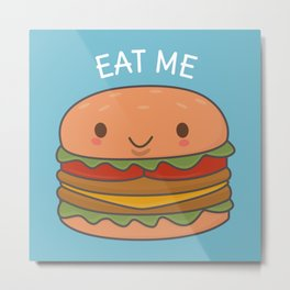 Kawaii Cute Burger Metal Print