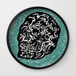 'Abstract Skull on Blue' Digital Abstract Interpretive Skull Print Wall Clock