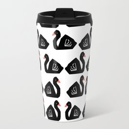 Swan minimal pattern print black and white bird illustration swans nursery decor Travel Mug