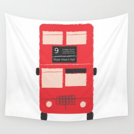 Red Double Decker Bus  Wall Tapestry