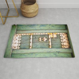 Antique Green Gold Door - Storybook Aesthetic - Cottage Chic - Ecclectic Boho - Travel Photography Rug