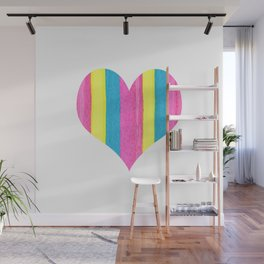 Neon Striped Heart Wall Mural