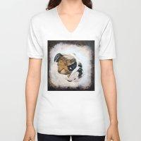 english bulldog V-neck T-shirts featuring English Bulldog by Kristiekoz