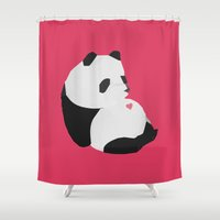 panda Shower Curtains featuring Panda by Etiquette