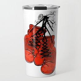 Red boxing gloves hanging on a nail Travel Mug