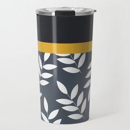 Leaves Pattern in Black Grey nad Yellow Travel Mug