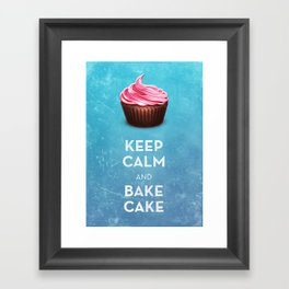 Keep Calm & Bake Cake Framed Art Print