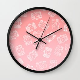 Girly modern hand drawn cameras pattern on pink blush ombre Wall Clock