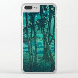 Kawase Hasui Vintage Japanese Woodblock Print Cluster Of Pine Trees Near The Water's Edge At Night Clear iPhone Case