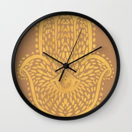 Gold Hamsa Hand On Brown Paper Wall Clock