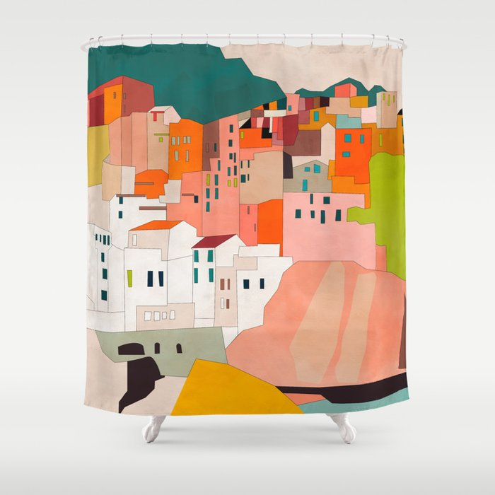 italy coast houses minimal abstract painting Shower Curtain