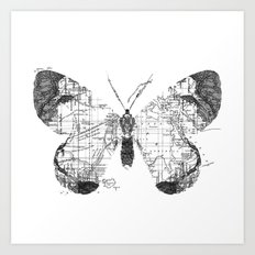 Butterfly Wanderlust Black and White Art Print