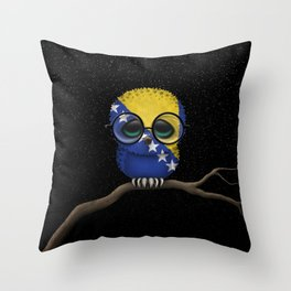 Baby Owl with Glasses and Bosnian Flag Throw Pillow