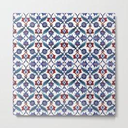 Iznik Tile Pattern Red Blue White Green Metal Print