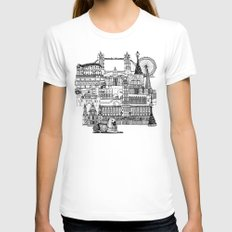 London toile black white Womens Fitted Tee MEDIUM White