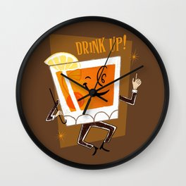 Mr. Whiskey Says Drink Up Wall Clock