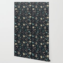 Night Nature Floral Pattern Wallpaper
