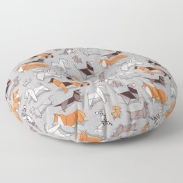 Origami doggie friends // grey linen texture background Floor Pillow