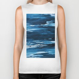 Blue Brush Strokes (Color) Biker Tank