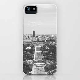 View from the Eiffel Tower - Paris Cityscape in Black and White iPhone Case