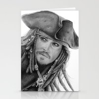 jack sparrow Stationery Cards featuring Captain Jack Sparrow by Celeste Roddom