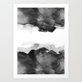 Black and White watercolor abstract poster Art Print