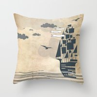 ship Throw Pillows featuring Ship by Emily Rose Scott
