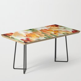 Geometric Tiled Orange Green Abstract Design Coffee Table