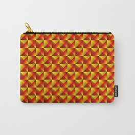 Tiled pattern of dark yellow rhombuses and red triangles in a zigzag pyramid. Carry-All Pouch