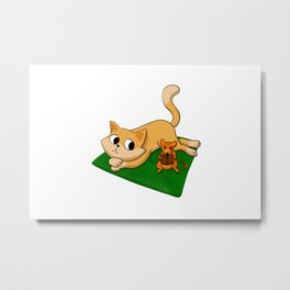 Cat and mouse reading book Metal Print