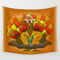 turkey Wall Tapestries featuring Vacation Turkey Illustration by Gravityx9