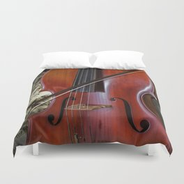 Cello with Bow a Stringed Instrument with Classical Sheet Music Duvet Cover