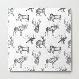 Woodland Critters in Dark Grey Metal Print
