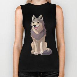 Happy gray wolf. Vector graphic character Biker Tank