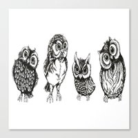 owls Canvas Prints featuring OWLS by Acus